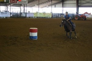 Cerise and Madalyn running Barrels